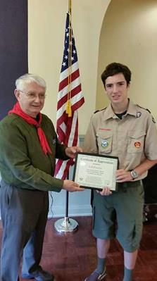 Mary's Woods Continuing Care Retirement Community in Lake Oswego honored an Eagle Scout with local ties on June 15 for his work on the campus.